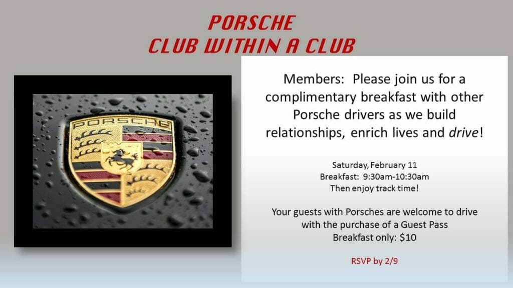 porche club 1024x576 - February 11, 2017 - Porsche Club within a Club